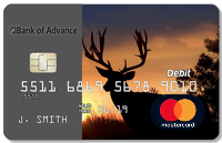 Bank of Advance debit card with silhouette of deer and sunset as background with MasterCard logo