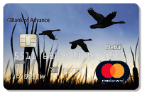 Bank of Advance debit card with ducks flying as background and MasterCard logo